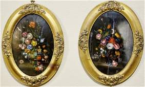 Pair of Oval Floral Still Life Paintings, Signed