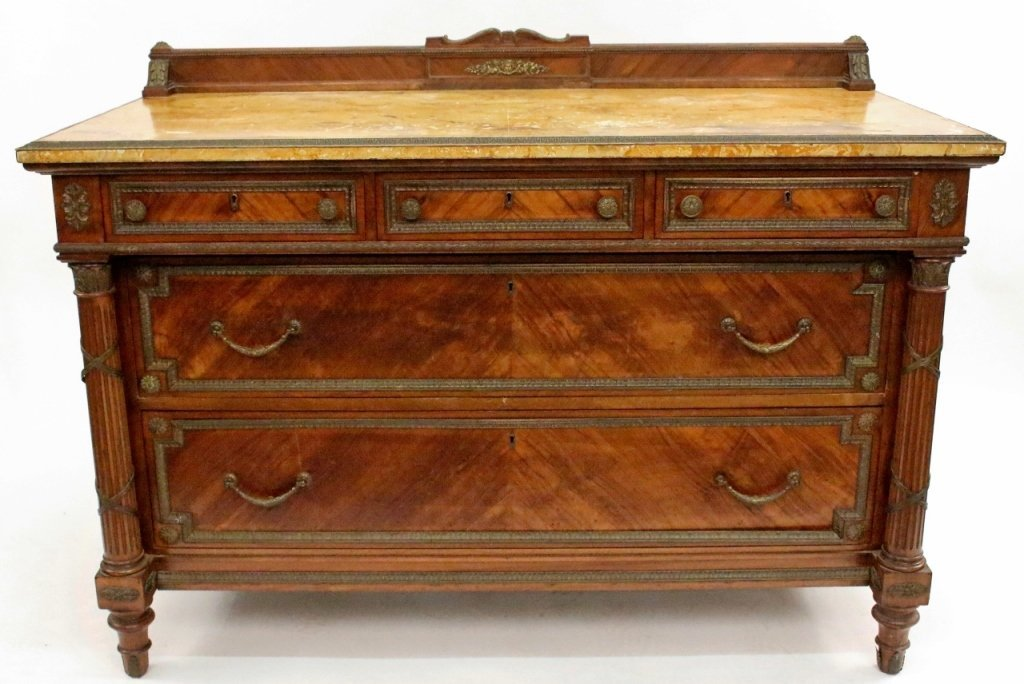 Five Drawer Walnut Chest with Faux Marble Top