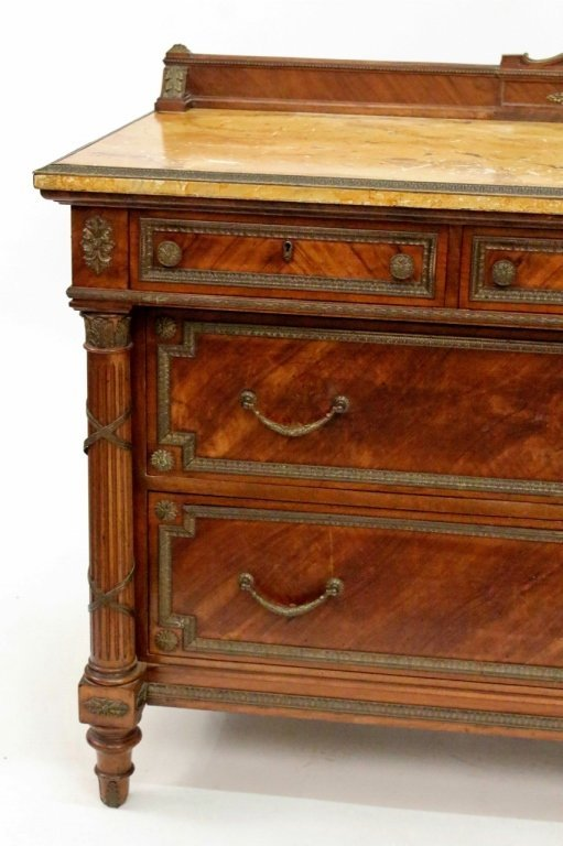 Five Drawer Walnut Chest with Faux Marble Top - 2