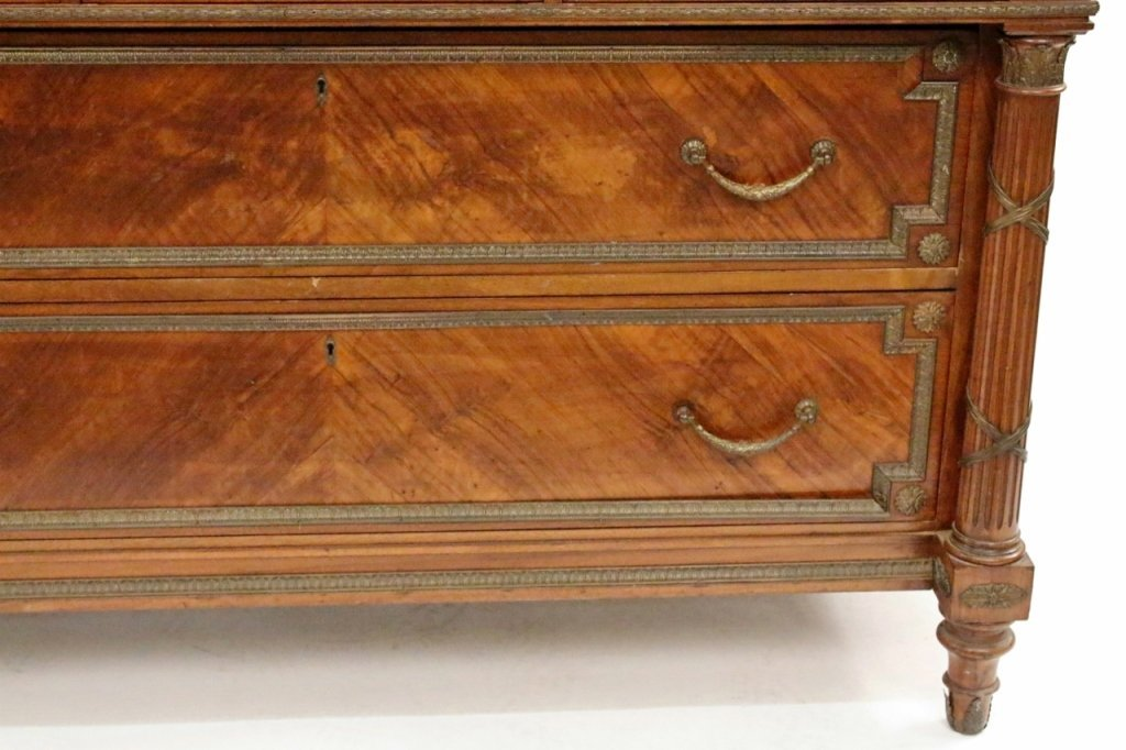Five Drawer Walnut Chest with Faux Marble Top - 3