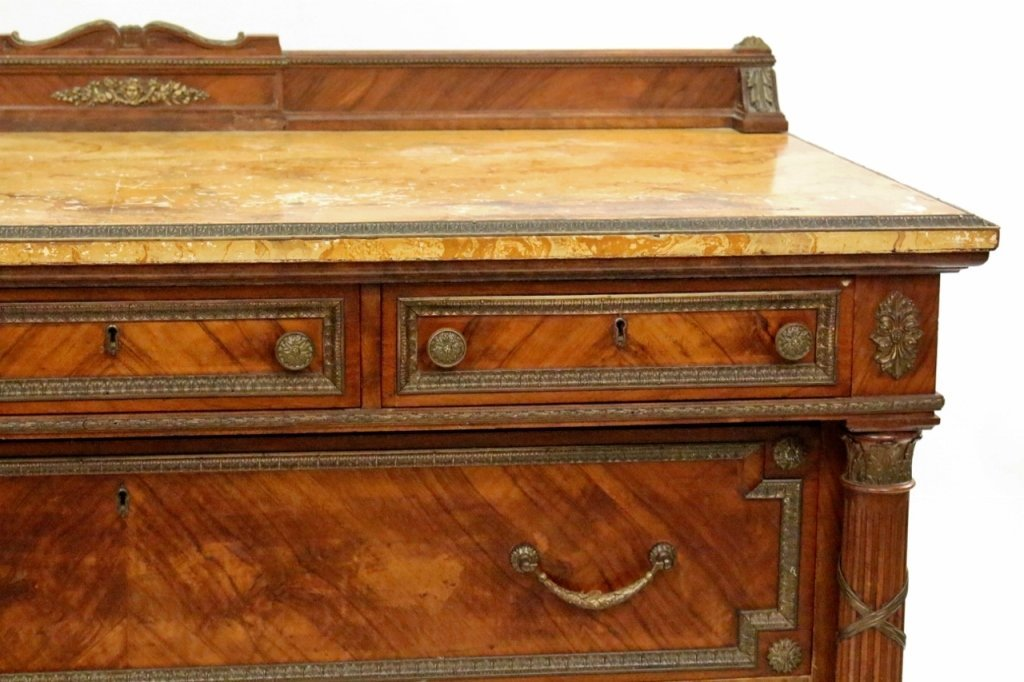 Five Drawer Walnut Chest with Faux Marble Top - 4
