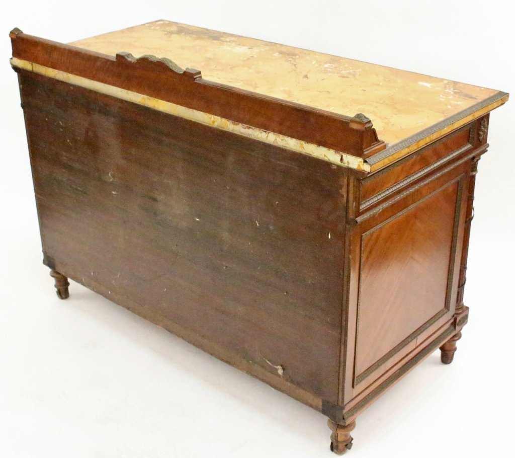 Five Drawer Walnut Chest with Faux Marble Top - 8