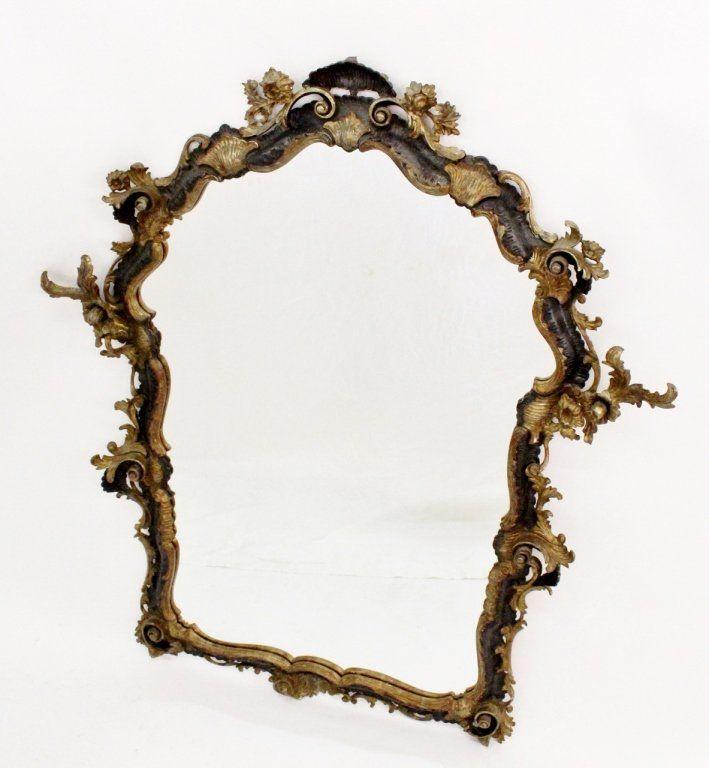 19th C. Italian Carved, Gilt and Ebonized Mirror
