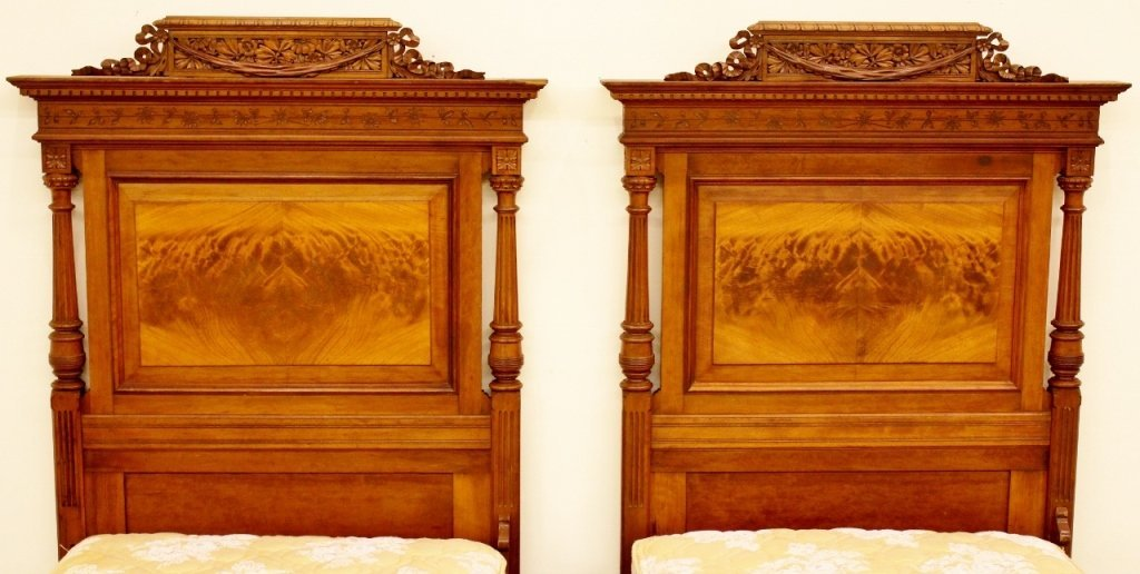 Pair of 19th C. French Walnut Twin Beds - 3
