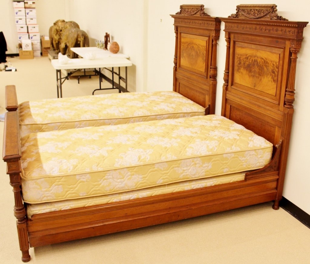 Pair of 19th C. French Walnut Twin Beds - 6