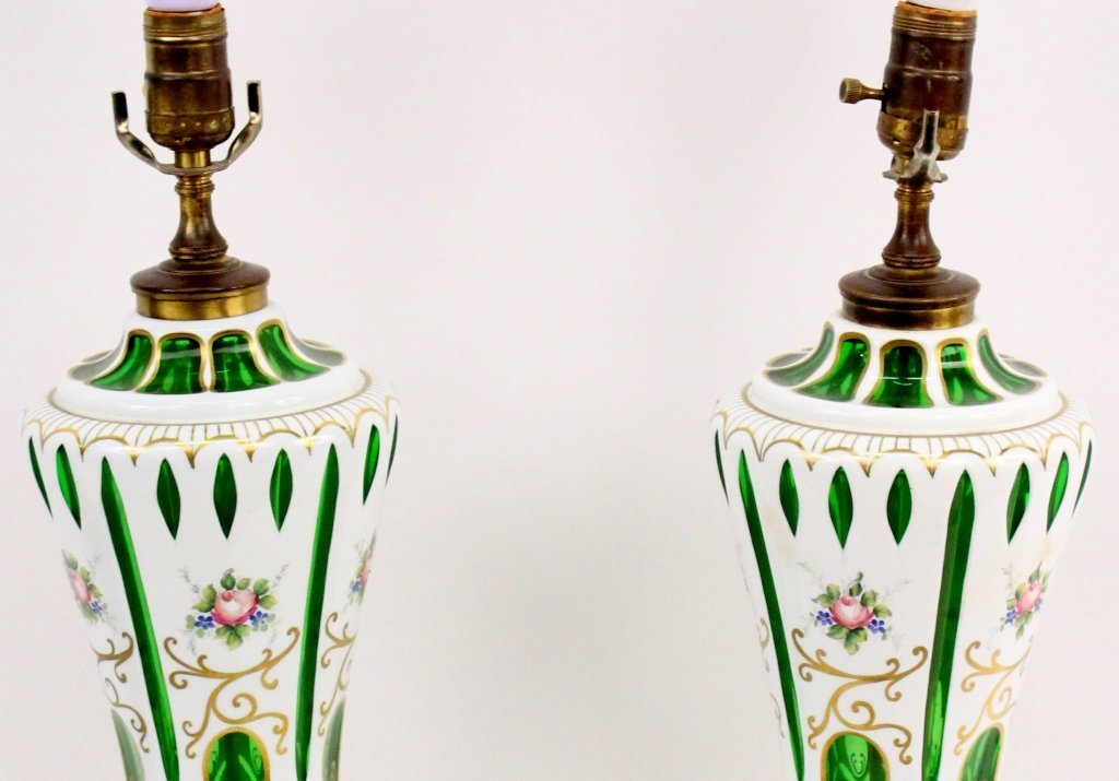 Pair of Floral Decorated and Emerald Glass Cased Lamps - 2