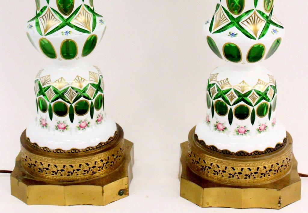 Pair of Floral Decorated and Emerald Glass Cased Lamps - 3