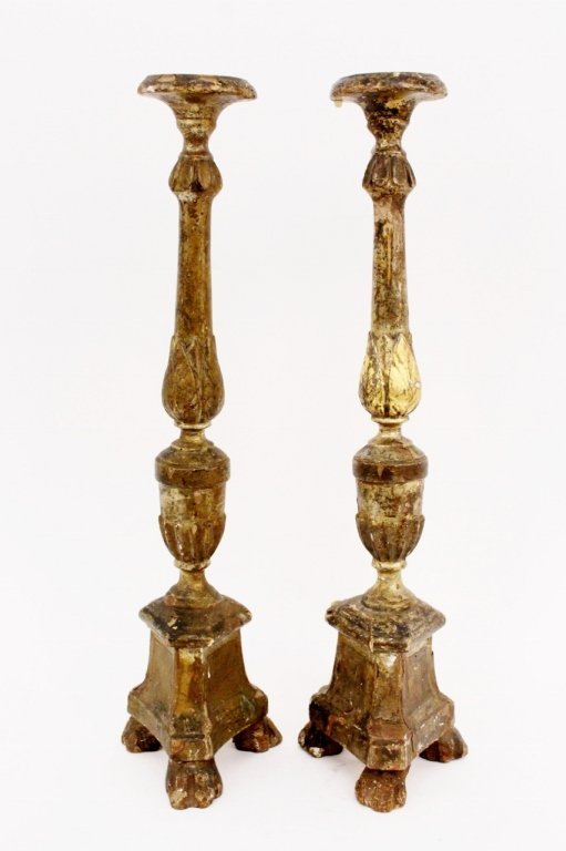 Pair of 19th C. Carved Gilt Wood Candlesticks