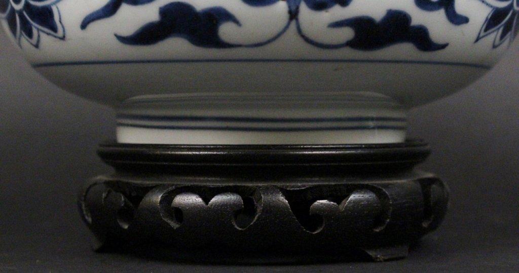 Blue & White Porcelain Cache Pot - 2