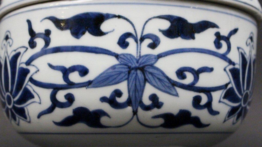 Blue & White Porcelain Cache Pot - 3