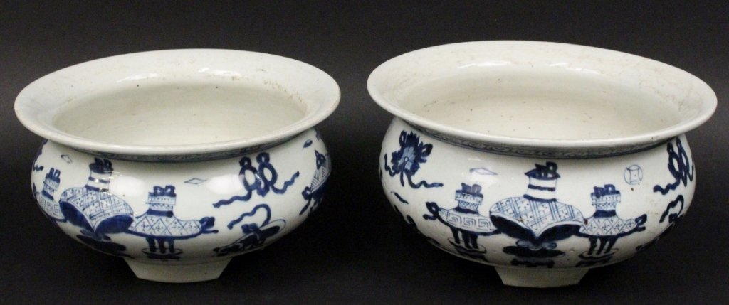 Two Blue & White Footed Cache Pots