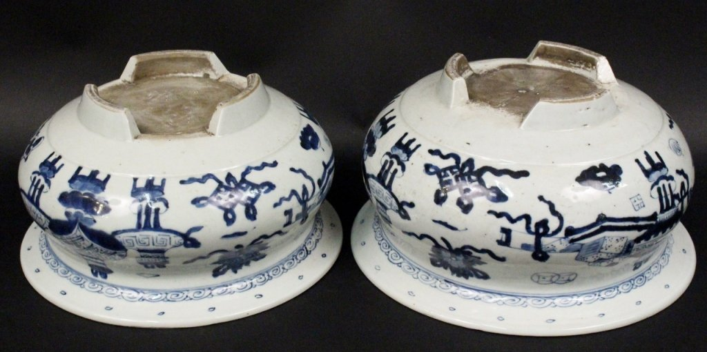 Two Blue & White Footed Cache Pots - 6