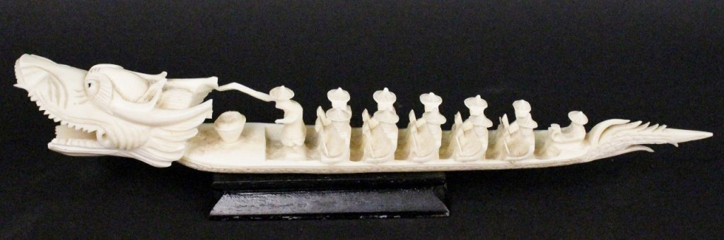 Carved Ivory Dragon Boat