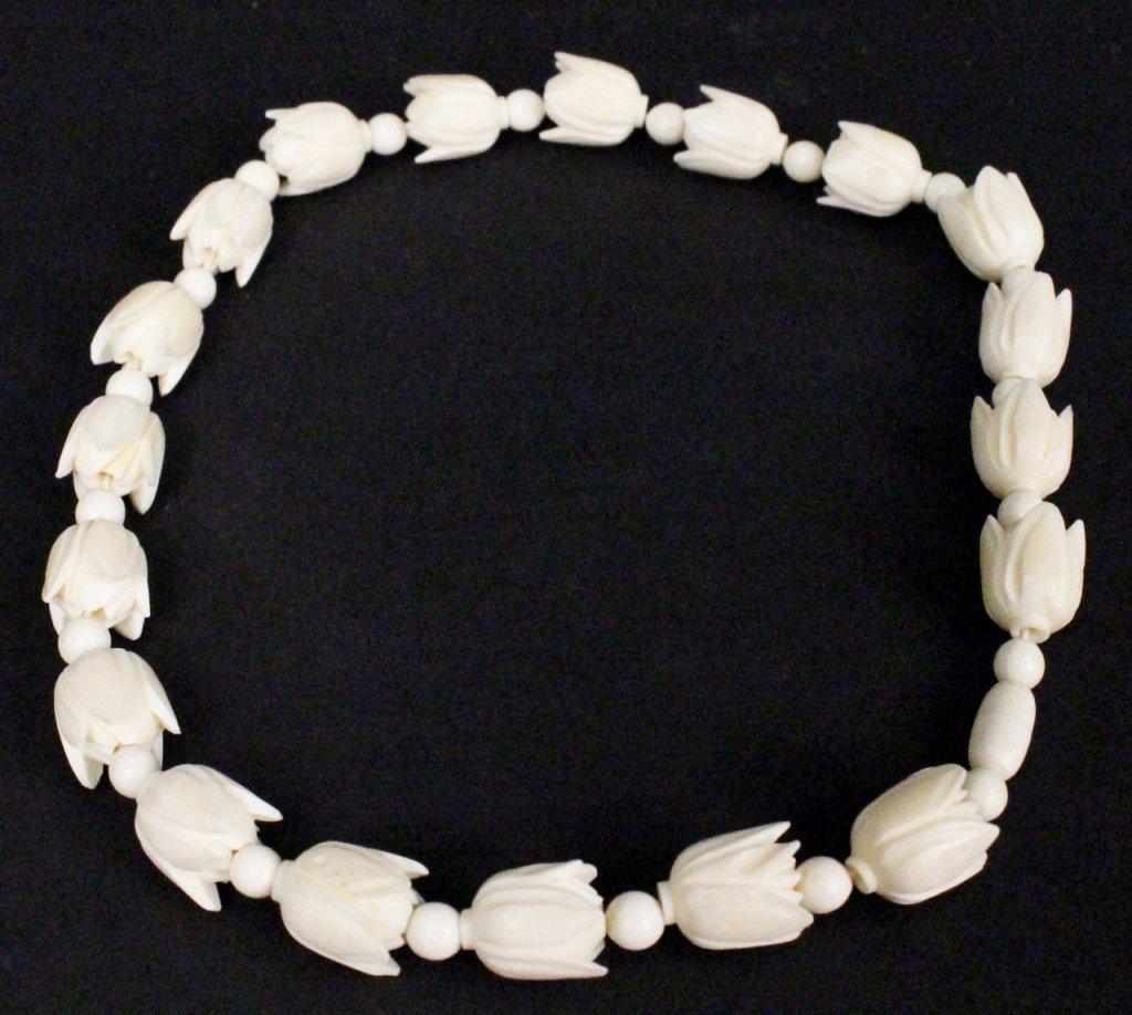 Ivory Carved Floral Necklace