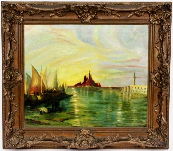 Oil on Canvas, Harbor Painting, Signed Walker