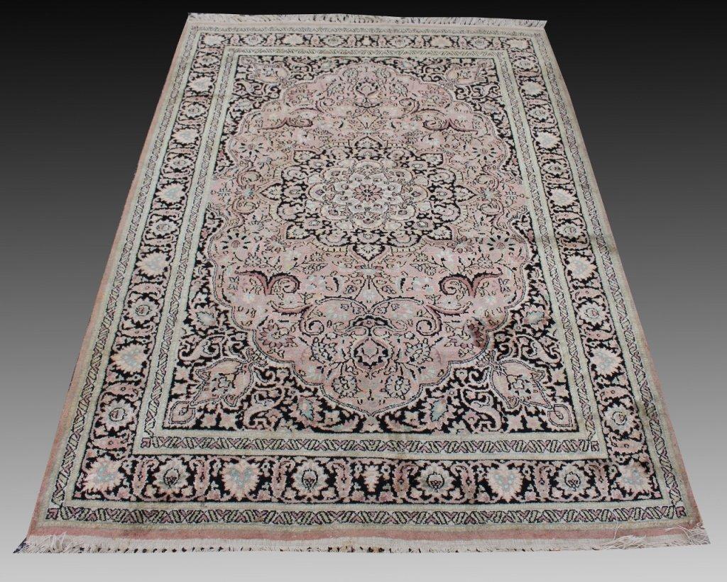 Kashmir Hand Knotted Art Silk Rug, 4.1 x 6.3