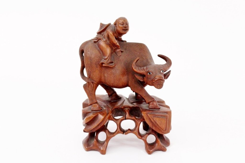 Carved Oriental Wood Bull Figural Sculpture