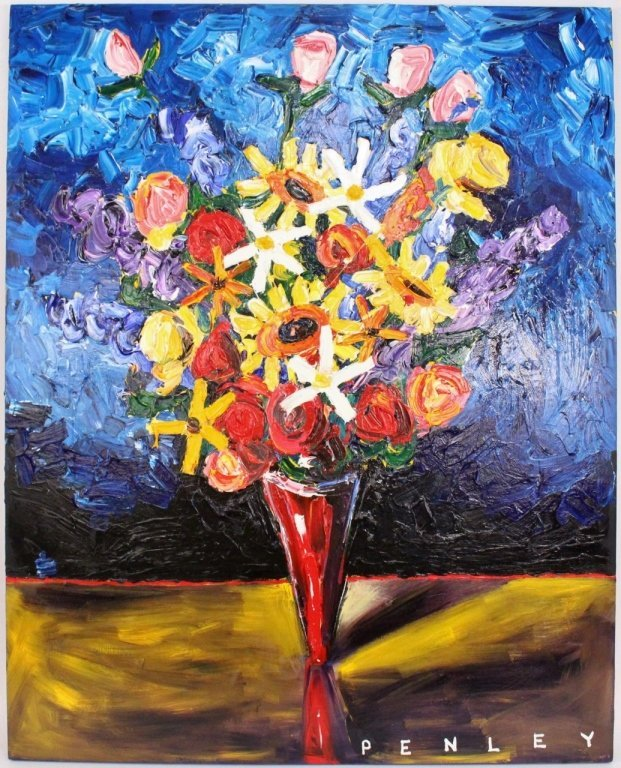 Large Steve Penley Floral Still Life Painting