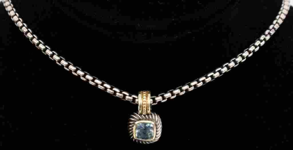 David Yurman Sterling, 14k Gold & Blue Topaz Necklace