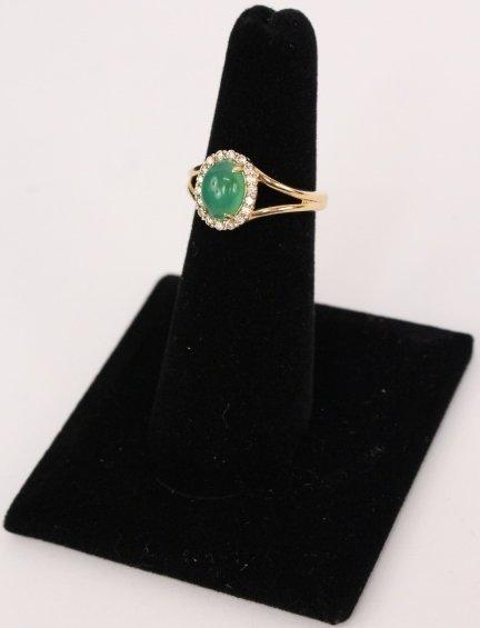 14k Gold, Jade & Diamond Ring