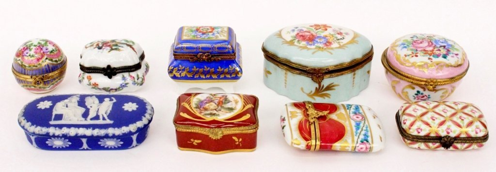 9 Diminutive Lidded Boxes, Limoges & Others