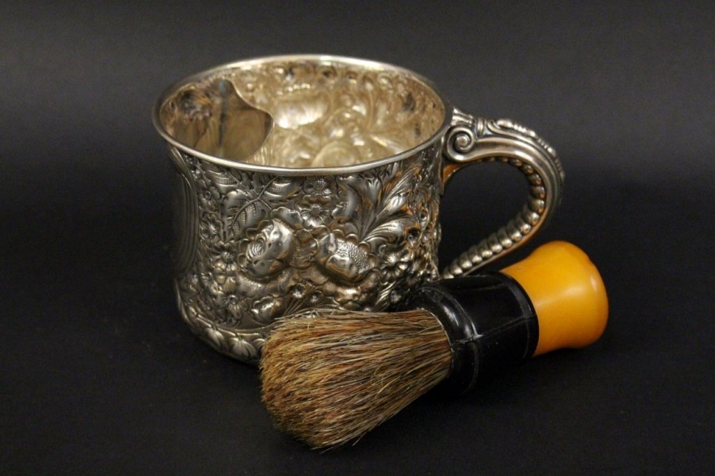 Gorham Sterling Mustache Cup & Shave Brush