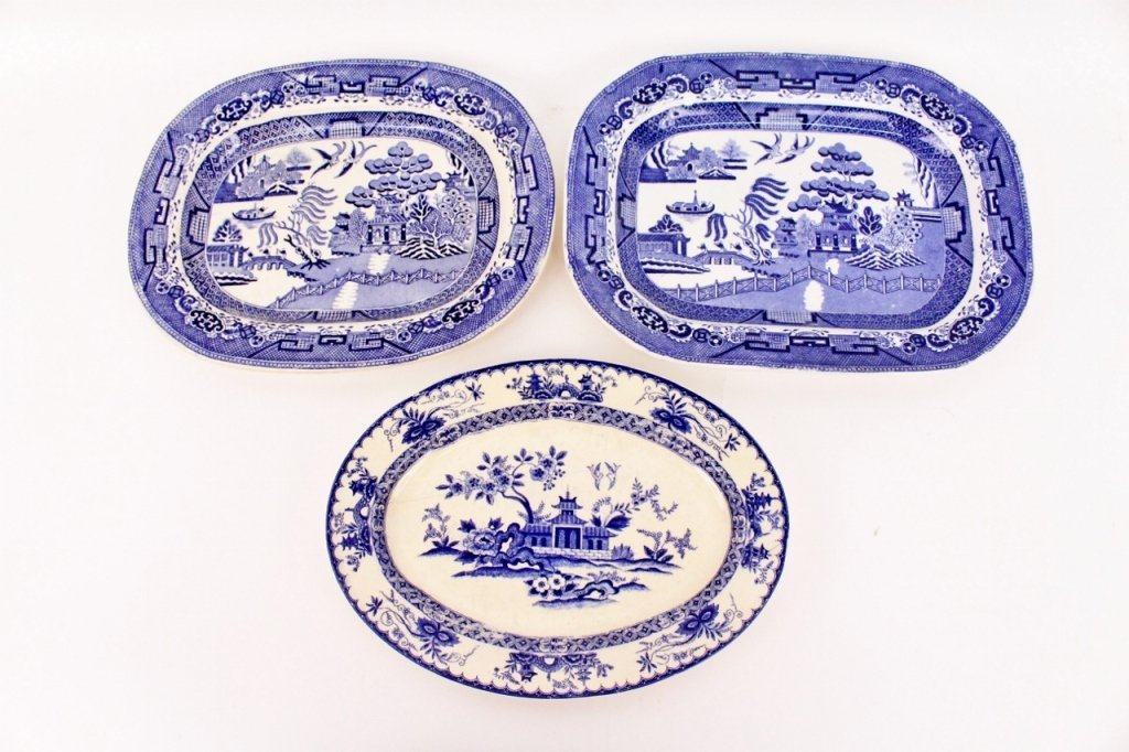Group of Three Blue Willow Motif Platters