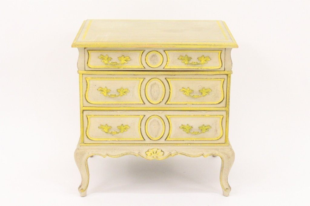 Grey & Yellow Louis XV Style 3 Drawer Stand