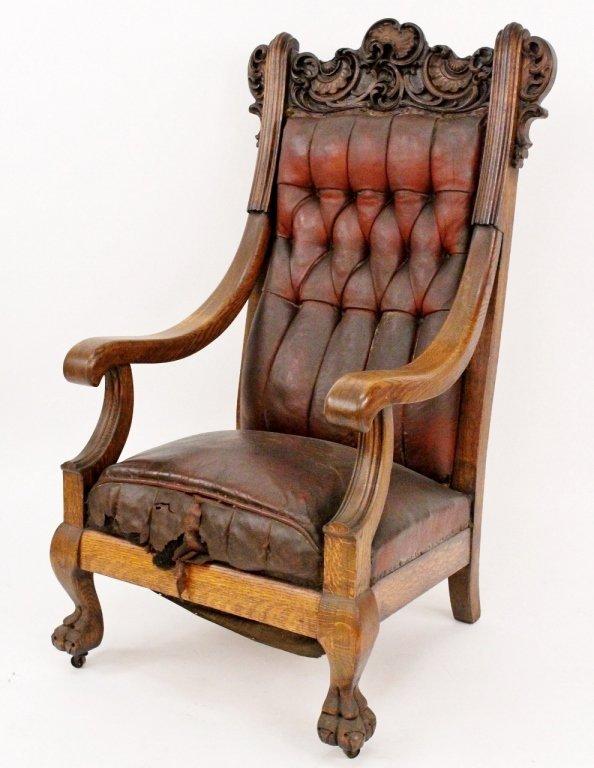 Large Oak Framed Leather Armchair