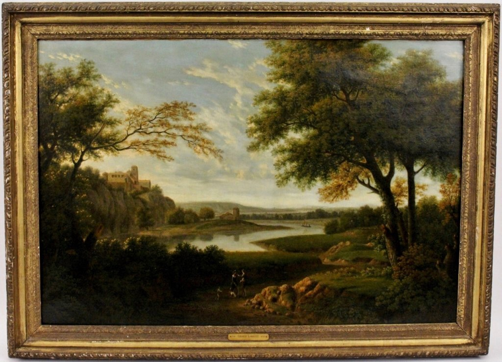 George Lambert Landscape w/Figures Oil on Canvas
