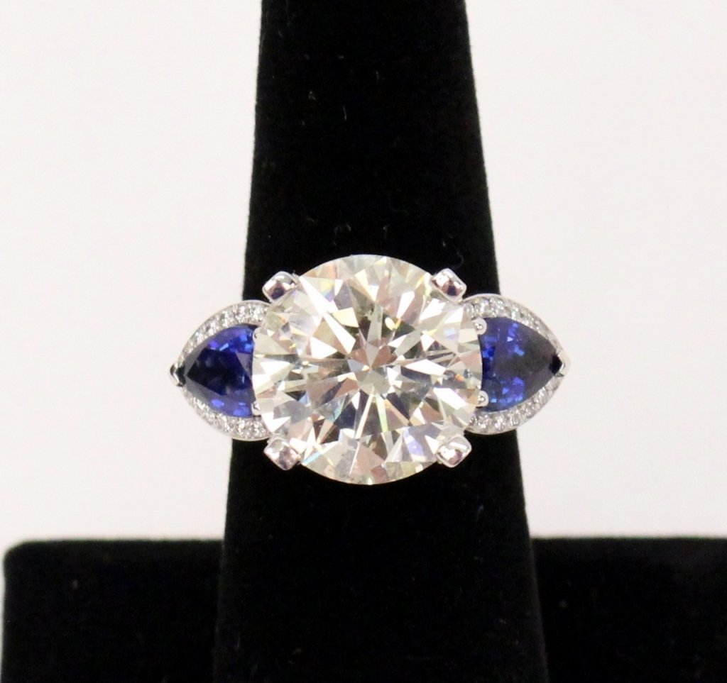 Diamond and Sapphire Ring- 11.07ct Center