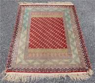Signed Turkish Hereke Silk Throw Rug w/Birds & Florals