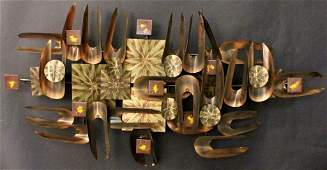 Abstract Metal Wall Sculpture with Copper Finish