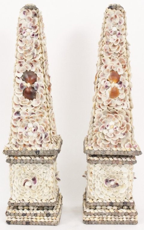 Pair of Shell Encrusted Obelisks