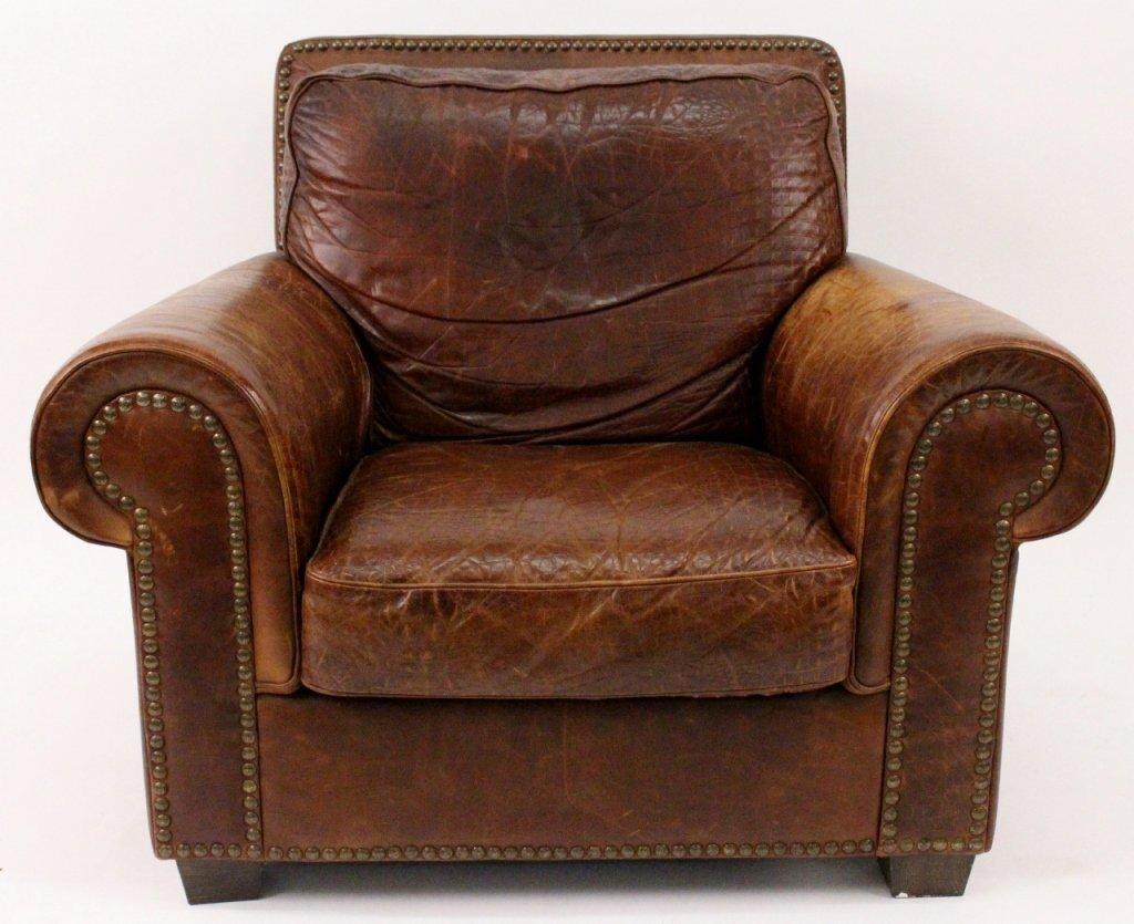 Italian Leather Cigar Chair by Salotti Natuzzi