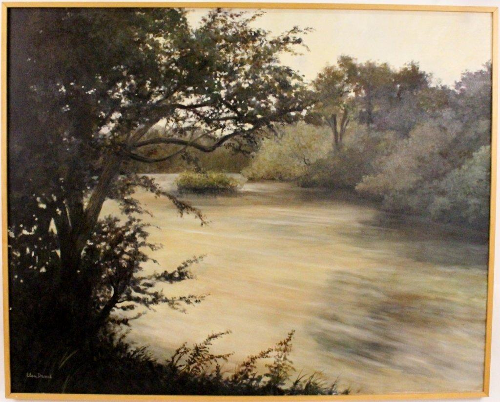 Southeastern Auto Auction >> Large Riverscape Oil Painting By Elsie Dresch