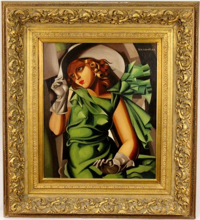 """After de Lempicka """"Young Lady in Green"""" Oil"""