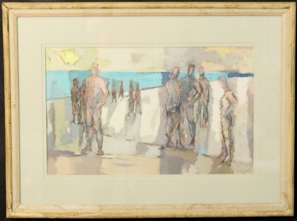George Ayers Cress Figural Gouache Painting