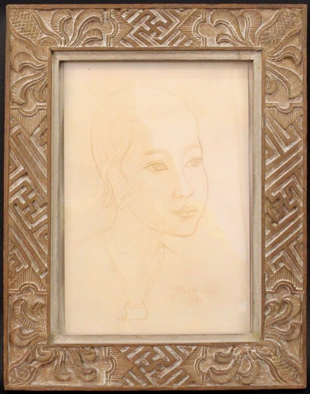 Theo Meier Pencil Sketch of a Young Woman
