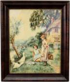 Early 20th C. Watercolor of Two Girls with Ducks