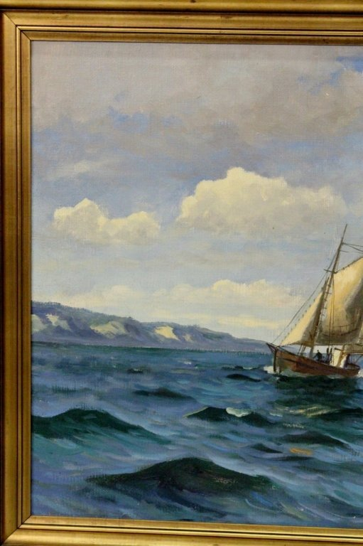 Willy Bille Danish Marine Oil on Canvas Painting - 4