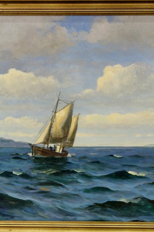 Willy Bille Danish Marine Oil on Canvas Painting - 5
