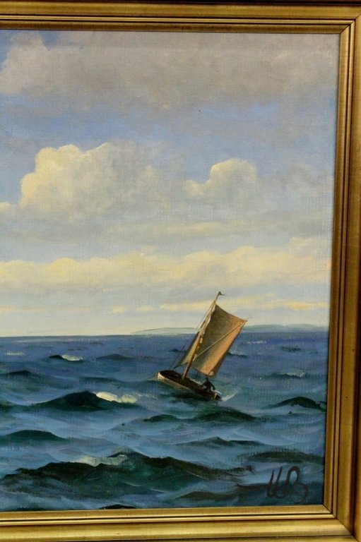Willy Bille Danish Marine Oil on Canvas Painting - 6