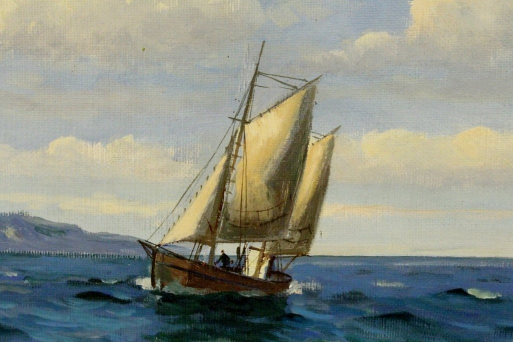 Willy Bille Danish Marine Oil on Canvas Painting - 7