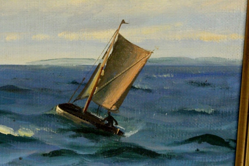 Willy Bille Danish Marine Oil on Canvas Painting - 8