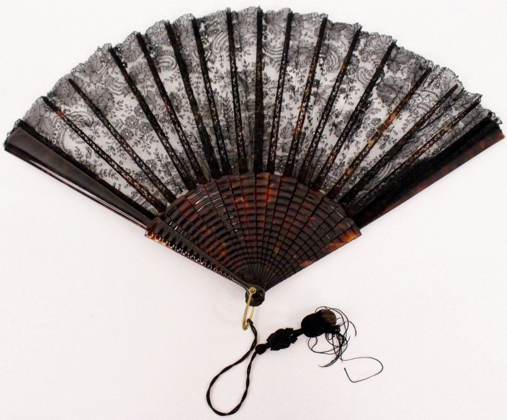Large Ladies Black Lace & Faux Tortoiseshell Fan