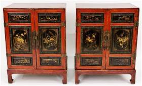 Pair of Lacqured Chinoiserie Decorated Cabinets