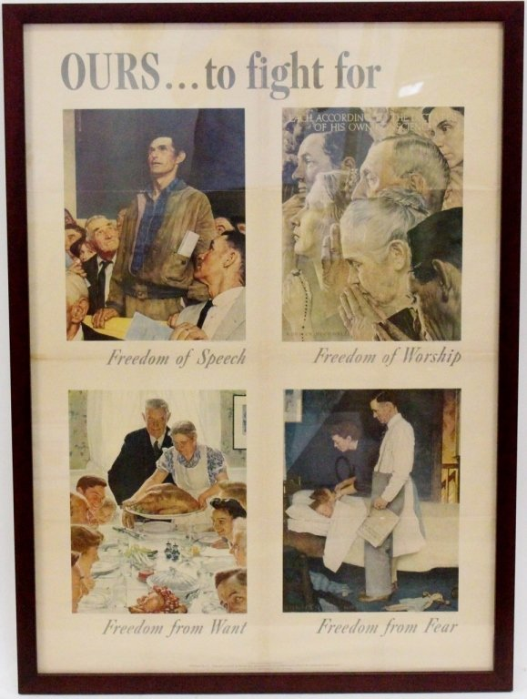 Norman Rockwell Four Freedoms Original Poster : Lot 0509