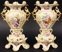 Pair of Old Paris Porcelain Spill Vases