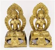 Pair of Gilt Bronze Oriental Guanyin Sculptures